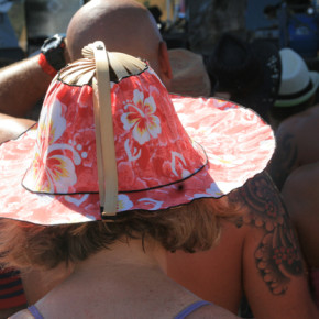 The R&B Festival was the place to show off decorative headgear this year, as concertgoers tried to stay cool. Photo by Marcy Stamper