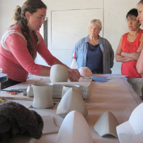 World renowned potter Deborah Schwartzkopf of Seattle talked about her process to an intrigued audience during the recent Clay Art Fest at TwispWorks. Photo by Don Nelson