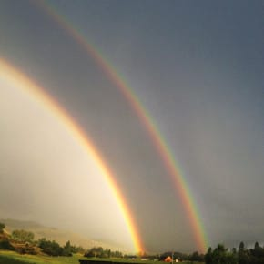 July 10, 2013: Double rainbow seen from Winthrop. Photo by Callie Fink