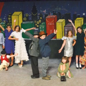 "The Merc Playhouse wrapped up a week-long drama camp Friday (Aug. 9) with scenes from the Broadway musical Annie. Seventeen kids honed their song, dance and acting skills, and designed set pieces and costumes under the tutelage of guest director Megan Fox Hicks. Here, from left, Travis Grialou, Sage Borgias, Isabelle Horan, Peter Nourse, Seth Kurtz, Wyatt Belcher, Julia Dietz, Emma Nourse, Wyatt Albright and Olivia Morrow peform ""It's a Hard Luck Life."" Photo by Laurelle Walsh"