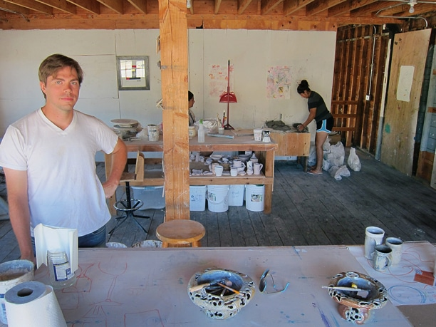 "Matt Armbrust, left, at his TwispWorks studio: hoping to create a ""ceramics hub."" Photo by Don Nelson"