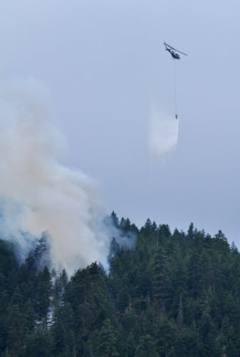 Fire crews dropped water on the Libby Creek fire. Photo by Sue Misao