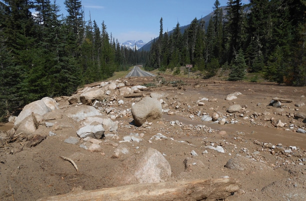 North Cascades Highway just after the mudslide. Photo courtesy of WSDOT