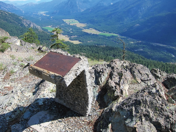 Three information posts – whose information is long gone – stand sentinel atop the Goat Wall overlook. Photo by Don Nelson