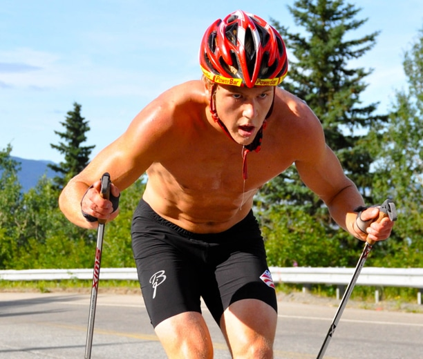 Erik Bjornsen rollerskiing, which is the primary method for cross country ski training in the summer time. Photo courtesy of USSA