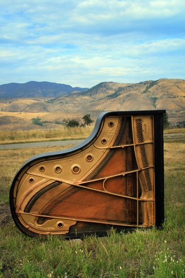 This grand is one of 10 pianos destined for a second life as visual, rather than auditory, art when it becomes part of a sculptural installation. Photo by Marcy Stamper