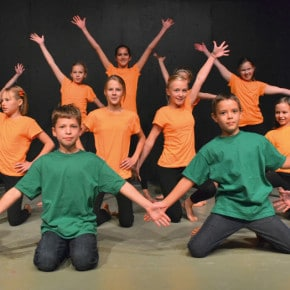 Young dancers perform a number from the musical Willy Wonka, choreographed by Missi Smith.