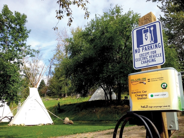 The valley's first electric car charging station was installed at Pine Near RV Park in Winthrop. The second is at the Mazama Country Inn, and a third will be installed soon at the Twisp River Pub. Photo courtesy of Pine Near RV Park