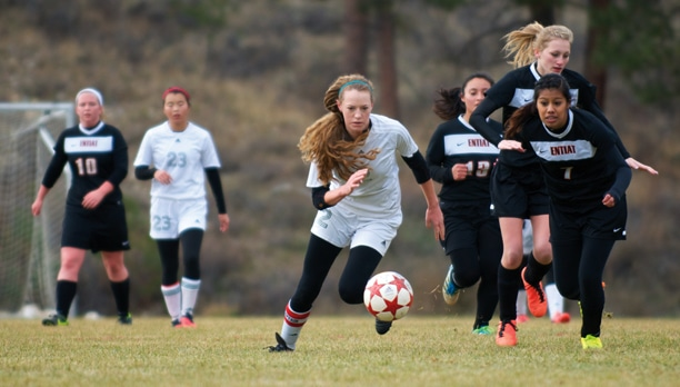 Senior co-captain Tulie Budiselich (No. 2) scored a goal in the Lady Lions' 5-0 win over Entiat last weekend. Liberty Bell plays Bridgeport on Saturday for a chance to return to the state championships. Photo by E.A. Weymuller
