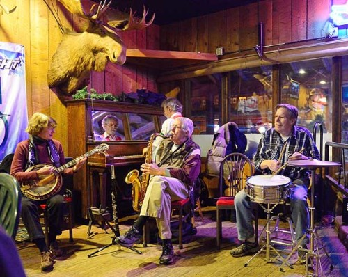 The Hotell Ragtime Band played their last gig at Antlers Saloon and Cafe Monday, Dec. 30. The  Methow Valley landmark closed New Year's Eve after close to a century of service. From left, Dianna Hottell, Bill Hottell, Wayne Mendro and Don Mendro. Photo submitted by Kurt Snover