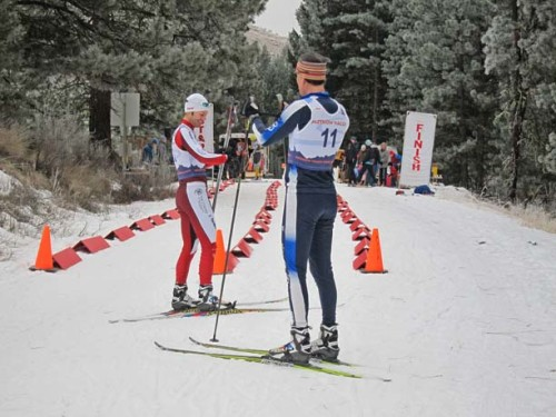 Tav Streit, in red, and Gregg Strome ready themselves for the race. Photo by Don Nelson
