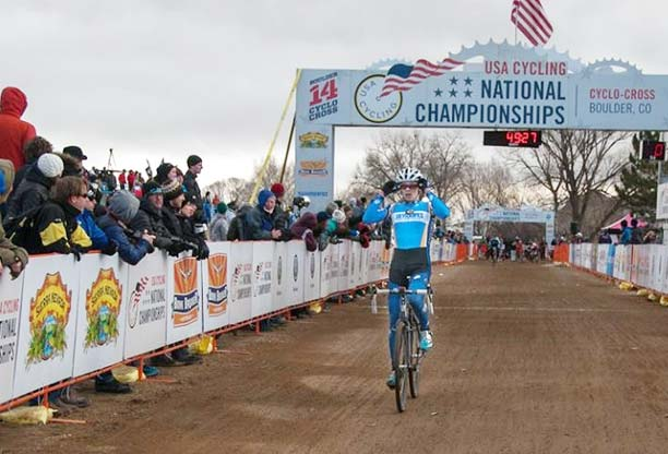 Former Twisp resident and 2012 Liberty Bell graduate Cody Cupp helped his teammates on the Fort Lewis College (Durango, Colo.) cycling team win second placae overall at the Cyclocross National Championships in Boulder, Colo., last weekend. Cupp finished eighth in a field of 66 Division I collegiate men and was the second-fastest rider on his team. While at Liberty Bell, Cupp also raced for the Methow Cycle & Sport–Blue Star Coffee Cycling Team. Photo by Greg Thomas