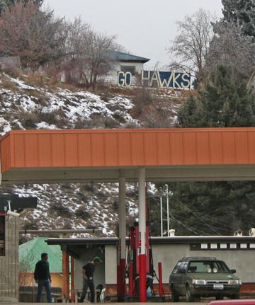 """The """"Go Hawks"""" sign that is fueling hopes of Super Bowl tickets for Roscoe Roseland and Hilary Ketcham. Photo by Darla Hussey"""