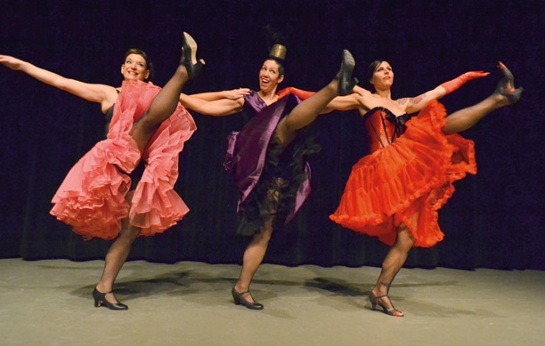 Missi Smith, Rose Weagant and Kaarin Kelly danced the can-can at The Merc's Broadway Dance Revue. Photo by Laurelle Walsh