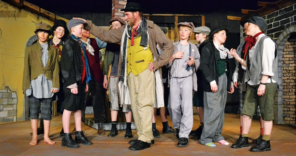 Master pickpocket Fagin led his gang of youthful thieves in the Methow Community Theater production of Oliver! Photo by Laurelle Walsh