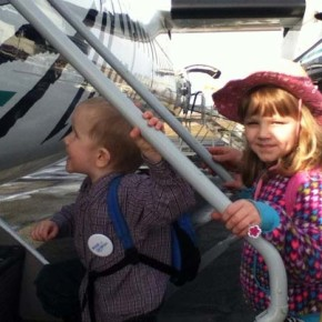 Isabella Curtis boarding the Alaska Airlines jet that would take them to the dude ranch. Photo by Becky Curtis