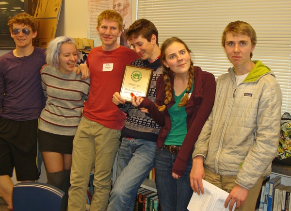 Riley Calvert, Patti Watson, Willy Duguay, Rowan Post, captain Kathleen Chavey-Reynaud and Corey Diamond pose with the ninth-place plaque the team won at the Knowledge Bowl state championships in Arlington last weekend. Photo courtesy of Leverett Hubbard