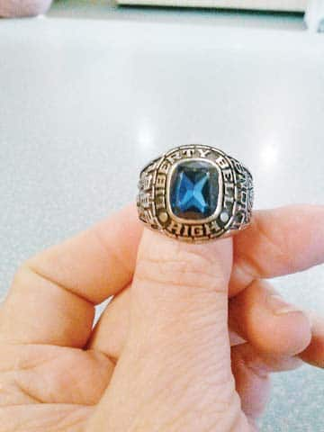 RenéRolf Martin's class ring is back home again. Photo courtesy Debbie Bair