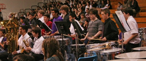 Dean Hussey, third from the right, was Liberty Bell Junior High's only percussionist. Photo by Darla Hussey
