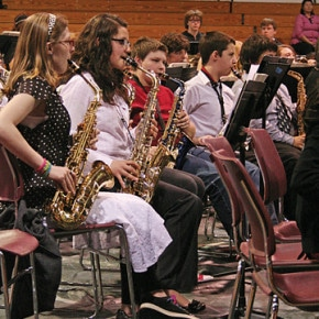 Chloe Temple, left, from Liberty Bell joined 185 fellow junior high musicians for the Middle School Monster Festival 2014 Gala Concert held last Friday at Brewster High School. Photo by Darla Hussey