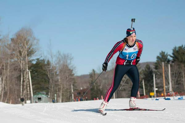 Liberty Bell High School junior Elise Putnam navigates the course at the National Guard Biathlon Championships held last Friday at Jericho, Vt. Putnam, who recently enlisted in the National Guard, qualified for the championships after winning two events while competing on the National Guard Biathlon Team at the Western Region Championships last month in Alaska. Photo courtesy of Washington National Guard