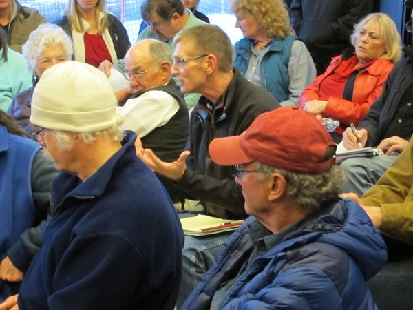 Michael Brady, center, talked about legal issues at last week's meeting on a proposed recreation district. Photo by Don Nelson