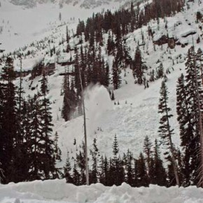 Looking up toward the Liberty Bell avalanche chutes, where a snowblower is at work. Photo by Ann McCreary