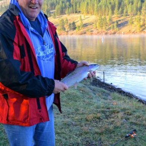 Rick Thordarson, human fish magnet from Seattle, quickly caught his limit on opening day at Pearrygin Lake. Photo by Laurelle Walsh