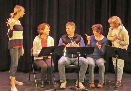 The cast of Rapture, Blister, Burn, a Readers' Theater production playing this Thursday and Friday at The Merc Playhouse in Twisp: from left, Dani Reynaud, Danielle Micheletti, Jason Paulsen, Laurelle Walsh and Midge Cross. Photo by Ashley Lodato