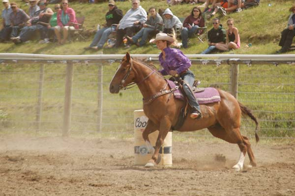 Rodeo queen Mckenna Risley takes her turn in the barrels competition at the 43rd annual Methow Valley Memorial Day Rodeo last weekend. Photo by Mike Maltais