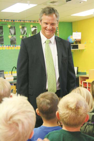 Brian Patrick welcomed kindergartners on the first day of school in 2011, his second year with the district. File photo by Marcy Stamper