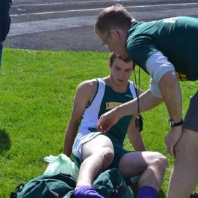 Austin Watson ices his ankle after a long jump injury. Photo by Laurelle Walsh