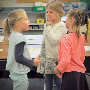 First-graders Marit Nelson, left, Sophia Marrone and Nella Belcher made connections in Amanda Armbrust's class at Methow Valley Elementary School on Tuesday (Sept. 2), the first day of school. Photo by Ashley Lodato