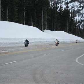 The first eastbound travelers over Washington Pass on Thursday were   all on motorcycles. Photo by Don Nelson