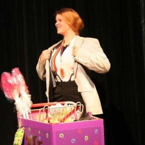 Wonka (Morgan Tate) goes incognito as the candy man. Photo by Darla Hussey