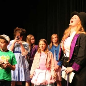 As the play proceeds, the children begin to question Willy Wonka's (Morgan Tate) mental state. Photo by Darla Hussey