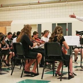 "The orchestra joined the concert band to perform ""Jesu, Joy of Man's Desiring."" Photo by Darla Hussey"