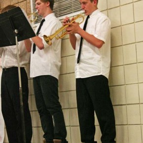 """Blue Tango"" gave the jazz band trumpets a chance to show off their chops. Photo by Darla Hussey"