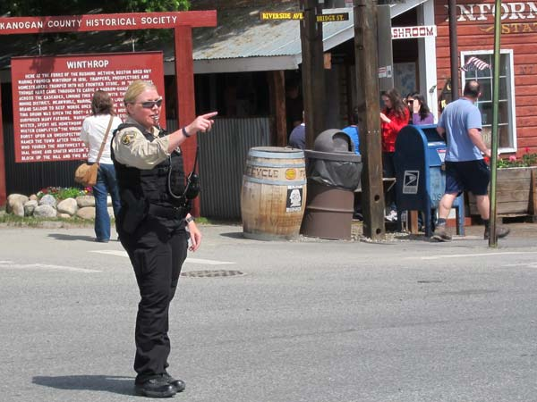 Marshal Rikki Schwab, directing traffic. Photo by Don Nelson