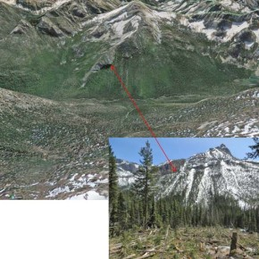 Slide path of avalanche at location #2 as viewed from Google Earth. Inset shows view from slide looking South across drainage. Photo courtesy USFS