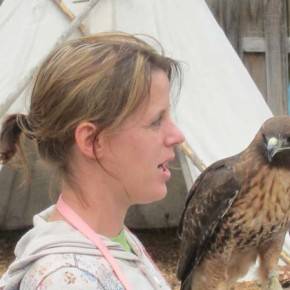 Lindsay gets a look from Apollo, a red tailed hawk. Photo by Don Nelson