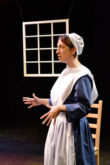 Terri Weagant portrays seven characters in The Amish Project this weekend at The Merc Playhouse. Photo by Anna Curtiss