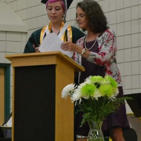 Salutatorian Patty Watson prepares to address her classmates with Principal Deborah DeKalb. Photo by Laurelle Walsh