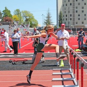 Lauren Fitzmaurice comptetes in the hurdles. Photo by Lauren Fitzmaurice