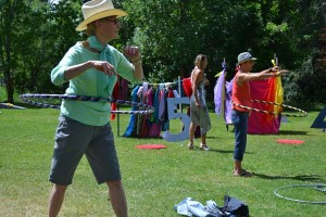 Lynette Westendorf proves an able hula hooper. Photo by Laurelle Walsh