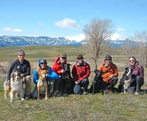 Search and rescue teams Jim Gregg and Stout, Ryan Audett and Nason, Tim Priest and Rugger, John Schaefer and Lemma, and Aaryn Peterson and Aspen pause in their training with senior dog handler Vikki Buzzard. Photo courtesy Vikki Buzzard