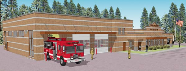 This is what the proposed fire station will look like if the levy passes. Artwork courtesy Okanogan County Fire District No. 6