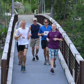 """Locals """"Hungry Like the Wolf,"""" made up of Liam Daily, Bob Naney, John Rohrer, Scott Fitkin and Remington Rohrer, was the first team to finish, in 3 hours, 52 minutes. Photos by Laurelle Walsh"""