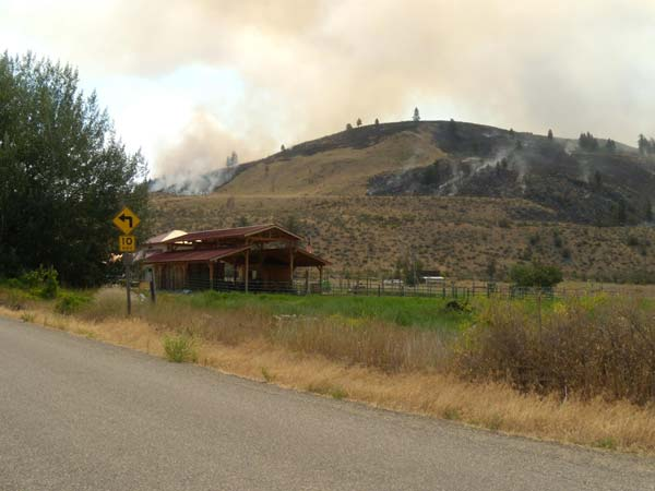 Taken this morning (July 16) from a vantage point on the old Carlton road,  looking toward the Texas Creek fire. Photo by Ronda Bradeen