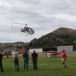 Dr. John O'Keefe's fancy flying in his kit-built, jet-powered helicopter captured everyone's attention. Photo by Darla Hussey